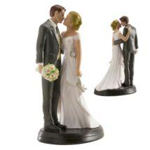 Csókos, elegáns pár esküvői tortadísz