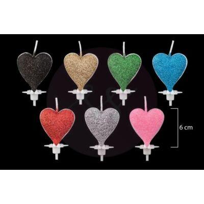 glitteres szív gyertya